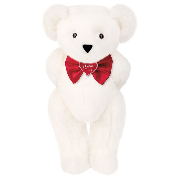 """15"""" """"I Love You"""" Bow Tie Bear - Standing jointed bear dressed in red satin bow tie; """"I Love You""""  is embroidered on red satin heart center -Vanilla White fur image number 2"""