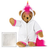 "15"" Unicorn Hoodie Bear - Front view of standing jointed bear dressed in a white fleece hoodie footie with rainbow horn, a hot pink cuffs and fur mane and tail - Vanilla white fur image number 3"