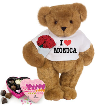 """15"""" """"I HEART You"""" Personalized T-Shirt Bear with Roses and Chocolates"""