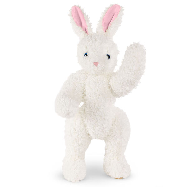 "16"" Classic Curly White Bunny  - Front view of standing jointed rabbit with blue eyes, pink nose and ears and beige foot pads - curly white fur image number 3"
