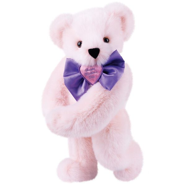 """15"""" Happy Mother's Day Bow Tie Bear - Standing jointed bear dressed in purple satin tie; """"Happy Mother's Day"""" is embroidered on pink satin heart center - light Pink fur image number 5"""