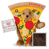 """15"""" Pizza My Heart Bear - Front view of standing jointed bear dressed in a pizza slive costume holding a pizza box that says """"You have a pizza my heart"""", personalized with """"Jessica"""" on the crust in red - Espresso image number 7"""