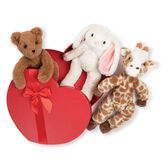 "15"" Buddy Collection with Heart Box -  Set of 3, Bear, Giraffe and Bunny in a red heart shaped box with red satin ribbon trim image number 0"