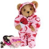 """15"""" Sweetheart Hoodie-Footie Bear with Red Roses and Chocolates - Standing jointed bear dressed in pink and red heart hoodie footie with rose bouquet and 6 pc. chocolates. Personalized with """"Anne"""" in black on left chest - Honey brown fur image number 0"""
