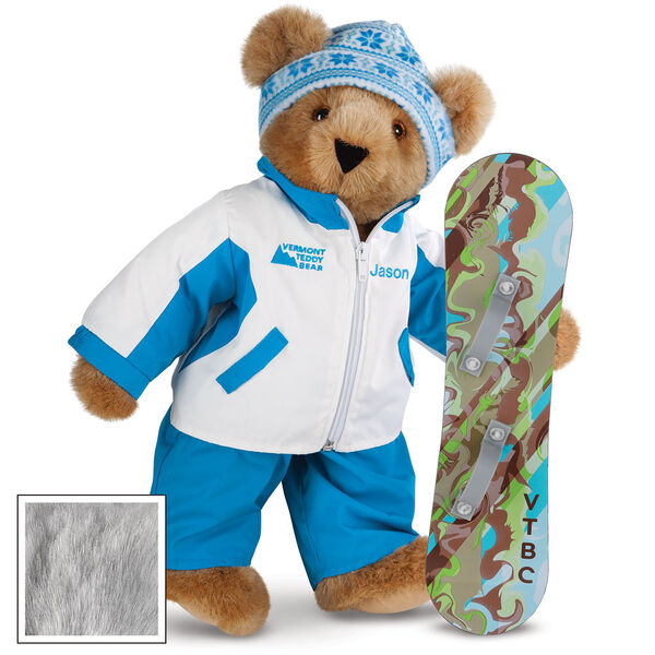 """15"""" Snowboarder Bear - Front view of standing jointed bear dressed in a blue and white snow jacket, blue pants, and holding a snowboard with graphics. Jacket is personalized with """"Jason"""" on the left chest - Gray image number 4"""
