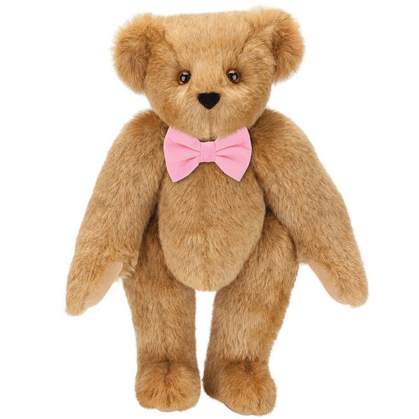 "15"" Classic Bow-Tie Bear - Standing jointed bear dressed in velvet bow tie - Honey brown fur image number 1"