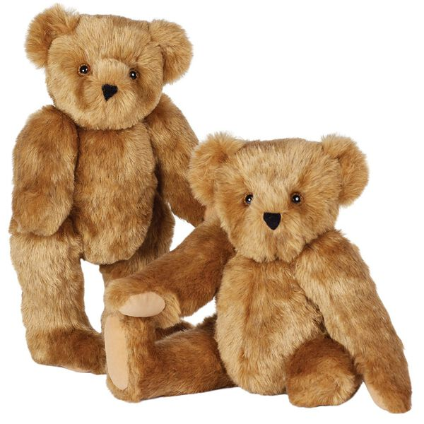 """15"""" Limb Loss and Limb Difference Bear - Three quarter view of standing  and seated jointed bears with partial and full amputations - Honey brown fur image number 0"""