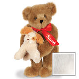 """15"""" Puppy Love Bear - 15"""" Standing Bear wearing a red satin bow and comes with plush puppy. Bow is personalized with """"Sarah"""" on the left tail - Vanilla image number 5"""
