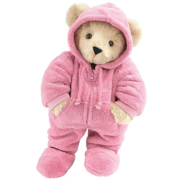 """15"""" Hoodie Footie Bear - Front view of standing jointed bear dressed in pink hoodie footie personalized with """"Emily"""" in white on left chest - Buttercream brown fur image number 2"""