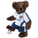 "15"" Soccer Bear - Three quarter view of standing jointed bear dressed in a blue and white jersey with VTB logo, blue shorts and comes with black and white soccer ball. Shirt is personalized with ""Emily"" on the front - Espresso brown fur image number 5"