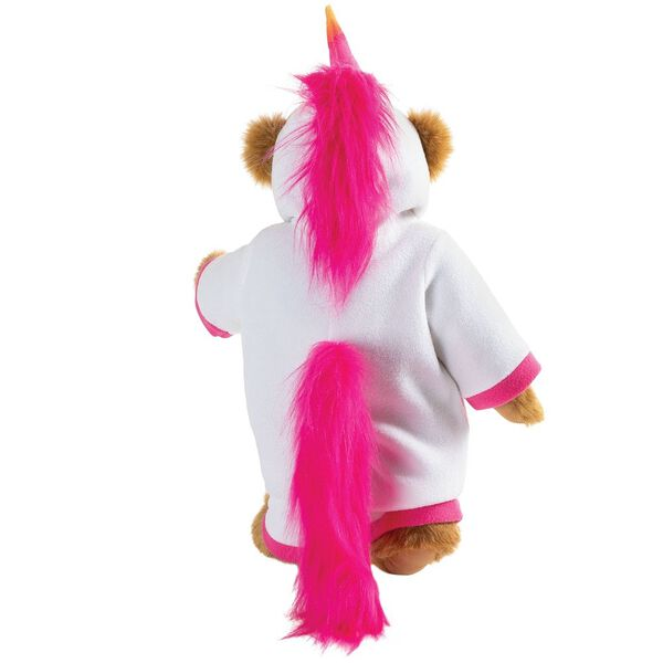 "15"" Unicorn Hoodie Bear - Back view of standing jointed bear dressed in a white fleece hoodie footie with rainbow horn, a hot pink cuffs and fur mane and tail image number 7"