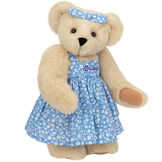 "15"" Mother Bear - Three quarter view of standing jointed bear dressed in blue floral dress and hair bow personalized with ""Susan"" in purple on bodice of dress - Buttercream brown fur image number 2"