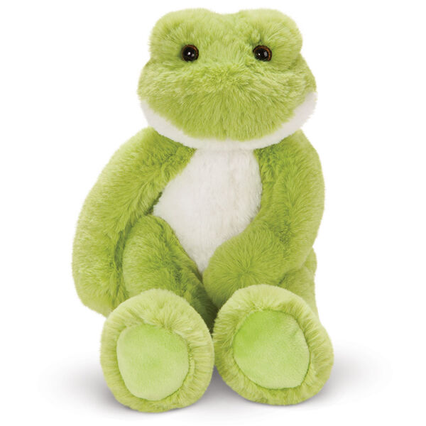"""15"""" Buddy Frog - Front view of seated plush green slim frog with white belly and brown eyes image number 6"""