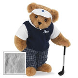 """15"""" Golfer Bear - Standing jointed bear in blue plaid pants, white polo shirt, dark blue vest and white visor holding a golf club - Gray image number 4"""