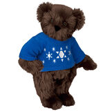 "15"" Chanukah Sweater Bear - Standing jointed bear dressed in blue knit sweater with white Star of Davids embroidered on the front - Espresso brown fur image number 5"