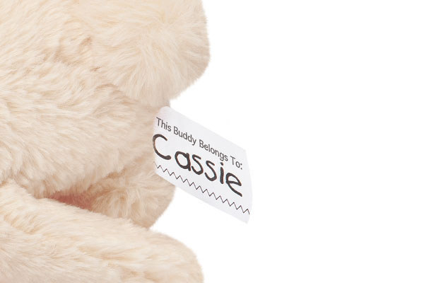 A close up image of the name tag on The World's Softest Bunny