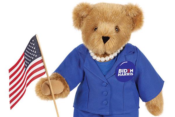 An image of an infant with the 15-inch Kamala Harris Bear