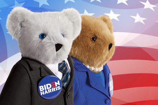 An image of the 15-inch Joe Biden & Kamala Harris bears