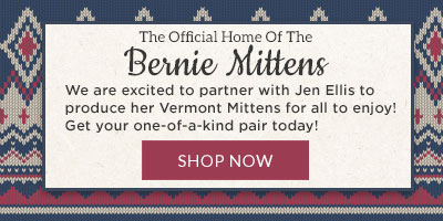 A banner with text describing the partnership between clothing maker Jen Ellis and the Vermont Teddy Bear Company and our new Mittens products.