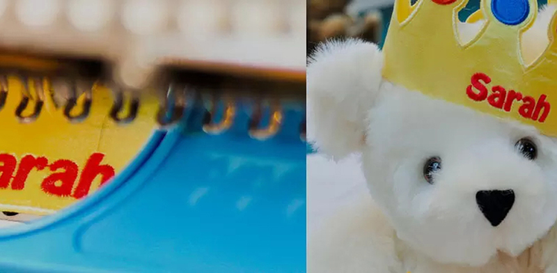 A close up image of a teddy bear butt tag