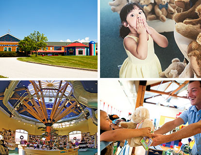 Clockwise from left: the Vermont Teddy Bear factory in Shelburne, vt; a young girl having fun on a Vermont Teddy Bear factory tour; a tour guide smiling and having fun with a young tour particpant; the interior of our Bear Store in Shelburne, vt