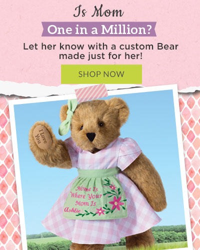 A collage of photos of the 15-inch Home is where your mom is bear, the 20-inch Hidden Hearts Bear and the 15-inch I heart Mom T-Shirt bear