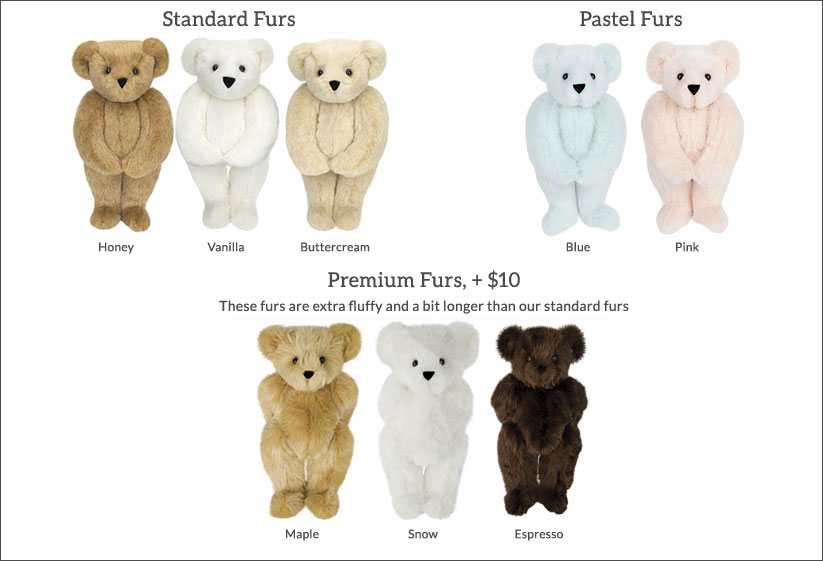 An image of Vermont Teddy Bear Fur Colors