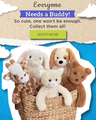 A photo of a basket full of 15-inch Buddy stuffed animals sitting next to framed photos of children holding a 15-inch Buddy Bear and 15-inch Buddy Bunnies