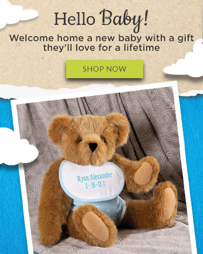 An image of the 15-inch New Baby Boy and 15-inch New Baby Girl teddy bears