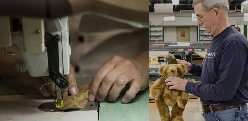 An image of hands working on a teddy bear part