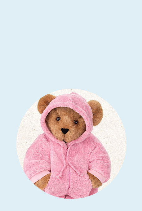 An image of the 15-inch Pink Hoodie Footie Bear