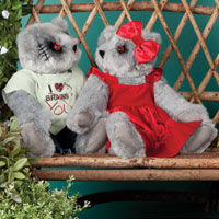 An image of a 15-inch Zombie Sweetheart Bear and a 15-inch Zombie Love Bear