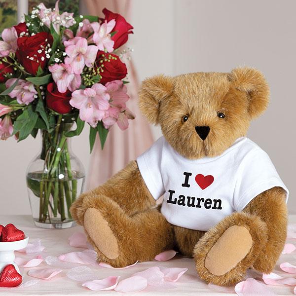 An image of the Vermont Teddy Bear 15-inch I Heart You Teddy Bear