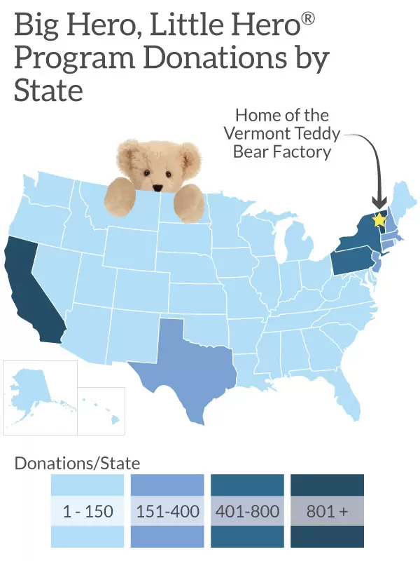 A map of program donations by state