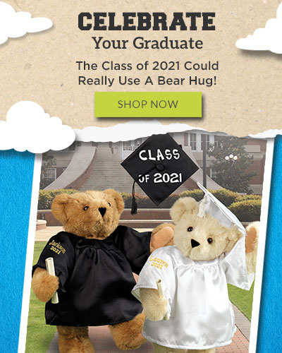 An image of the 15-inch Graduation Bears standing in front of a collegiate background