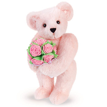 An image of the 15-inch Pink Rose Bouquet Teddy Bear