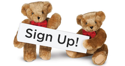 Two cute 15-inch Teddy Bears holding a small sign that says Sign Up!
