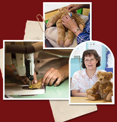 A collage of images of workers hard at work sewing and building a Vermont Teddy Bear